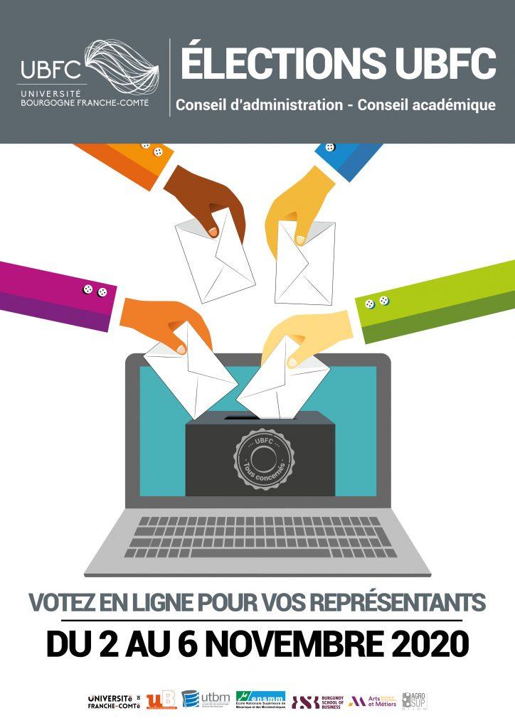 Affiche montrant des mains votant sur un ordinateur pour les élections de l'UBFC